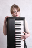 Young musician with her keyboard Royalty Free Stock Photo