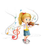 A young musician. Illustration of a young musician on a white background Stock Image
