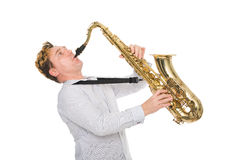 Young musician plays the saxophone Stock Image