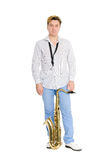 Young musician with saxophone Stock Images