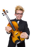 The young musician with violin isolated on white. Young musician with violin isolated on white stock images