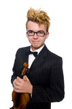The young musician with violin isolated on white. Young musician with violin isolated on white stock photo