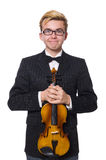 The young musician with violin isolated on white. Young musician with violin isolated on white royalty free stock image