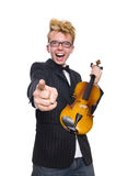 Young musician with violin isolated on white. The young musician with violin isolated on white royalty free stock images