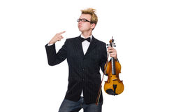 Young musician with violin isolated on white. The young musician with violin isolated on white royalty free stock image