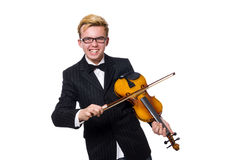 Young musician with violin isolated on white. The young musician with violin isolated on white stock photo