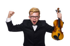Young musician with violin isolated on white Royalty Free Stock Photos