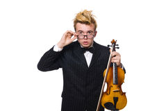 Young musician with violin isolated on white Royalty Free Stock Images