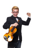 The young musician with violin isolated on white. Young musician with violin isolated on white royalty free stock photo