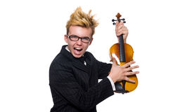 The young musician with violin isolated on white. Young musician with violin isolated on white royalty free stock photos