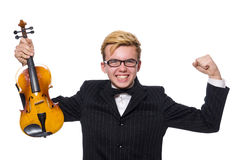 The young musician with violin on white Royalty Free Stock Photos