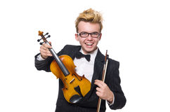 The young musician with violin on white Stock Photos