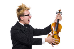 The young musician with violin on white Royalty Free Stock Photography