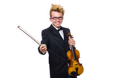 The young musician with violin on white Stock Image