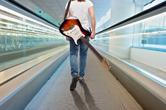 Young Musician Woman With Electric Guitar Royalty Free Stock Images