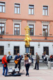 Young musicians on Arbat street(Moscow) stock photo