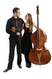 Young musicians with bass and violin Stock Images