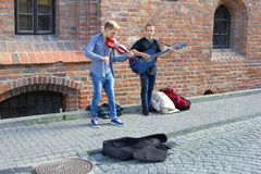 Young musicians are making music in Vilnius, Lithuania Stock Images
