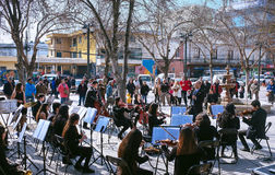 Young musicians. Melipilla, Chile. July 27, 2017.  Municipal musicians group in public presentation in the square of the Melipilla city , Chile. Young musicians Stock Photos