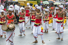 Young musicians perform along the streets of Kandy during the Day Perahera in Sri Lanka. Royalty Free Stock Photography