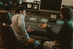 young musicians talking royalty free stock images