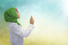 Young muslim asian woman praying to god Stock Photos