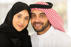 Young muslim couple. Cute young muslim couple closeup portrait Stock Photography