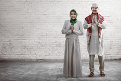 Young muslim couple smiling Stock Image