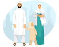 Young muslim family. Vector illustration of a young muslim family Stock Photo