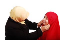 Young muslim female in traditional clothes with li royalty free stock photo