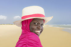 Young Muslim girl at the beach, ten years old Royalty Free Stock Image