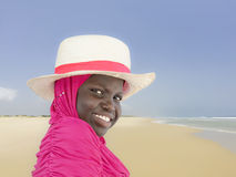 Young Muslim girl at the beach, ten years old Royalty Free Stock Photography