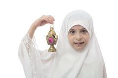 Young Muslim Girl  in Hejab Holding Ramadan Lantern Stock Image
