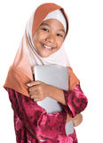 Young Muslim Girl With Laptop II Stock Photo