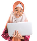 Young Muslim Girl With Laptop III Stock Photography