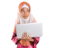 Young Muslim Girl With Laptop IV Royalty Free Stock Photo