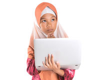 Young Muslim Girl With Laptop V Royalty Free Stock Photos