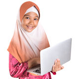 Young Muslim Girl With Laptop VI Royalty Free Stock Photo