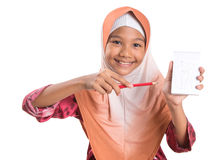 Young Muslim Girl With Pencil and Notepad IX Royalty Free Stock Images