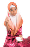 Young Muslim Girl With Pencil and Notepad V Stock Photo
