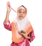 Young Muslim Girl With Pencil and Notepad VII Stock Images