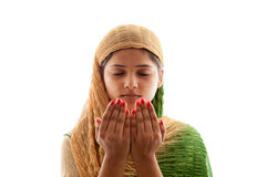 Young Muslim girl praying Royalty Free Stock Photo