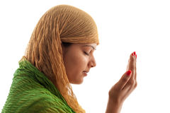 Young Muslim girl praying Royalty Free Stock Photos