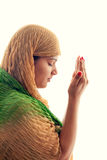 Young Muslim girl praying Stock Photo