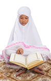 Young Muslim Girl Reading Al Quran I Royalty Free Stock Images