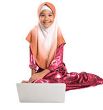 Young Muslim Girl Sitting With Laptop VII Royalty Free Stock Photo