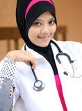 A young muslim woman doctor. Smiling Royalty Free Stock Photography