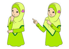 Young muslim woman with facial expressions. Young muslim woman with various facial expressions and gesturing. Vector illustration royalty free illustration