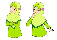 Young muslim woman with facial expressions. Young muslim woman with various facial expressions and gesturing. Vector illustration stock illustration