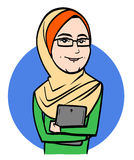 Young Muslim Woman. A young muslim woman holding tablet Royalty Free Stock Image
